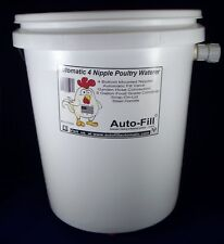 Automatic ChickenWaterer Watering  -5 Gal Bucket 4 Bottom Nipple -  Garden Hose