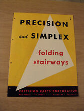 Vtg 1950's Home Building Supply Brochure~Precision & Simplex Folding Stairways~