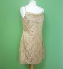 Together Party Dress UK 16 Gold Lace Lined Strappy Sleeve Knee Length
