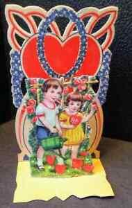 Vintage Valentine's Day Card VALENTINE Dimensional Gardening Hearts 1930s
