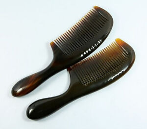 18~20cm Nice 100% Natural Ox Horn Fine-toothed Health Care Comb with Handle