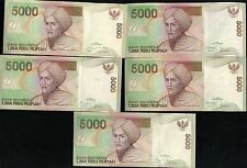 INDONESIA SET 5 PCS of 5000 5,000 RUPIAH 2007-2009-2010-2013-2014 (2001) P 142
