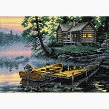 """Dimensions Gold Collection Petite Counted Cross Stitch Kit Morning Lake 5"""" X 7"""""""