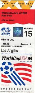 Paul Caligiuri Used 1994 World Cup Soccer Ticket Stub USA Vs Col June 22, 1994