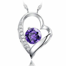 Silver Pendant Purple Wedding Birthday Gift White Gold Chain Necklace + Heart