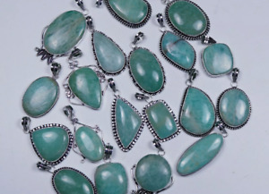 20 Pcs Lot Natural Green Amazonite 925 Sterling Silver Plated Pendants VPC31