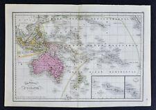 1858 Delamarche Map - Oceania - Australia New Holland Zealand East Indies Hawaii