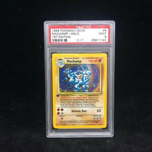 1999 Pokemon Base Set Holo Machamp 8/102 - 1999-2000 Print - Graded Card PSA 9