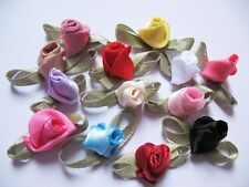 130 Assorted Mini Swirl Satin Ribbon Rose -13 Colors RF047