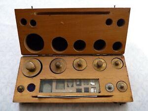 Vintage Mahogany Cased Set of Brass Chemist / Pharmacy Gram Weights