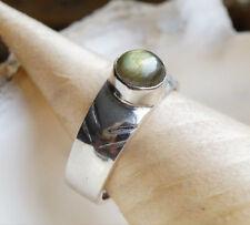 Schlicht Silberring 57 Breit Labradorit Handarbeit Grün WOW Muster Silber Ring