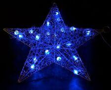 LED Leuchtstern, Weihnachtsstern 50 cm silber aus Metall mit Glitzerlack 20 LED