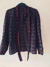 Vintage multicoloured print blouse with bow UK SMALL