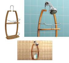 bamboo 2 tier hanging shower caddy bathroom storage shelf organiser storage rack