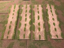 """28mm, 3"""" (Rural) Straight road sections,  4pc,  PAINTED"""