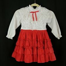 VTG Small World Girls 5 Dress Red Polka Dot Ruffle Bow Button Back Long Sleeve