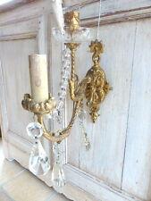 Superbe applique 1 feu 1 bougeoir bronze doré style Louis XV antique pampilles