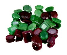 245ct / 27pcs Natural Emerald Ruby Ring Size Gemstone Wholesale Lot