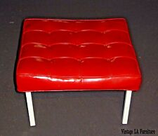 "Large 24"" Squared Mid Century Tufted Red Vinyl Bench Stool Hollywood Regency"