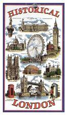 Historical London Tea Towel Souvenir Gift Big Ben Landmarks Nelson Scenes UK GB