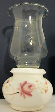 LASTING Etched Glass Ruffle Clear Lamp Globe Shade Handpainted Base Candleholder