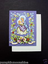 Unused Erica Von Kager Brownie Xmas Greeting Card Madonna & Child Floral Border
