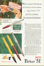 "1951 Vintage ad for new Parker ""51"" Pen~Several Pen Styles (101213)"