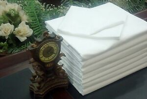 1 NEW WHITE HOTEL FLAT SHEET QUEEN SIZE 90X110 T180 WHITE RICH IN COTTON