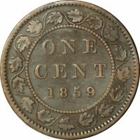 "1859/8 CANADIAN LARGE CENT WIDE ""9"" - VERY NICE CIRC COLLECTOR COIN!- d165dsut1"