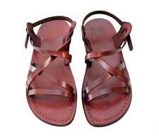 Brown Leather Jesus Roman Sandals Unisex Man Strap Handmade US 5-12 EU 36-46