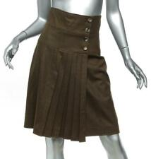 YVES SAINT LAURENT Brown Wool Pleated Button Wrap Knee-Length Skirt FR38 US6