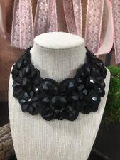 y Vintage Hand Stitched Sewn Black Bead Bib Collar Necklace Ribbon