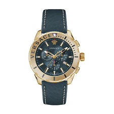 Versace Casual Chrono Stainless Blue Dial Leather Strap Swiss Watch VERG004-18