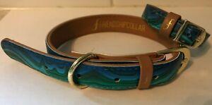 FriendshipCollar Dog Collar and Matching Bracelet Set - Blue and green - Vegan