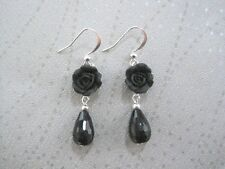 BLACK ROSE Black ONYX Faceted Teardrop Charm SP Earrings Tear Drop Gift Bag