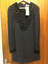 French Conection Beaded Long Sleeve Mini Dress Size 6 RRP £140 New