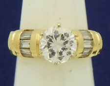 Cubic Zirconia cz Solitaire Engagement Ring Real 10 K Yellow Gold 7.0g Size 6.75