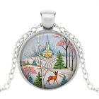Christmas Jewelry Photo Tibet Silver Cabochon Glass Pendant Chain Necklace