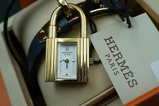 Rare Hermes Kelly PM Double Watch Blue Gray Leather White Dial Buckle Box W122