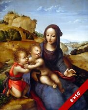 MADONNA & CHILD BABY JESUS WITH ST. JOHN BAPTIST PAINTING ART REAL CANVAS PRINT