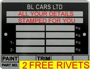 STAMPED B L CARS Land Rover Bulkhead VIN ID TAG Chassis Plate Series LEYLAND #1