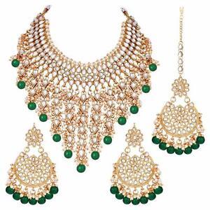 Traditional Wedding Wear Kundan & Pearl Drop Bridal DULHAN Halskette Ohrring Set