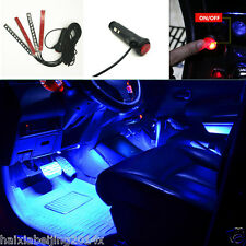 Car 4x12 Blue Cigarette Lighter Atmosphere Light LED Decor Neon Lamp Decoration