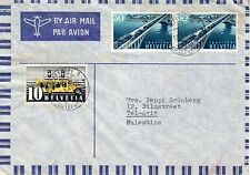 "Switzerland-Palestine 1947 ""Bridge,Train,Car"" mailed cover"