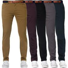 Enzo Mens Chinos Skinny Stretch Cotton Pants Belted Slim Fit Trousers Jeans