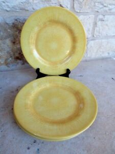 NWT Pier 1 Set of 4 Capri Melamine Salad/Accent Plates Yellow Tropical