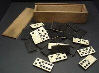 Antique Vintage Ebony & Bone Dominos - 28 - In Wooden Box Circa 1900's