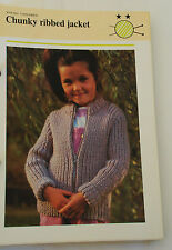 Knitting Pattern Pingouin Iceberg Child's Chunky Ribbed Zip Up Jacket  56 - 76cm