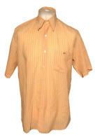 Men's Lacoste Shirt Orange Striped Size 41 Large 100% Cotton Short Sleeve