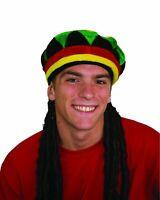 Rasta Tam Hat Jamaican Beanie W/ Dreads Dreadlocks Hair Hippie Reggae Adult